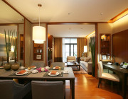 Fully equipped kitchen complemented by luxury Chinese silverware crockery and cooking ware