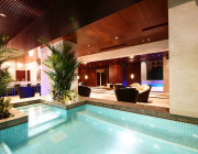 Relax by the salt chlorinated swimming pool with outdoor whirlpool