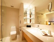 Separate modern shower and bath tub in each room