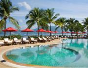 One of two stunning beachfront swimming pools